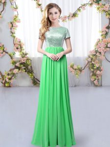 Short Sleeves Floor Length Sequins Zipper Dama Dress with Green