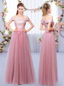 Affordable Pink Sleeveless Tulle Lace Up Quinceanera Court of Honor Dress for Prom and Party and Wedding Party