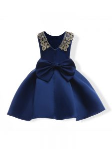 Navy Blue Zipper Little Girls Pageant Dress Appliques and Bowknot Sleeveless Mini Length