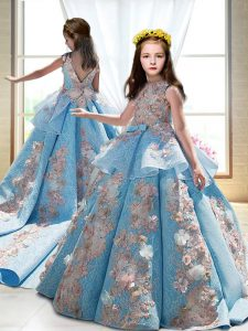 Blue Sleeveless Satin Court Train Backless Kids Formal Wear for Wedding Party