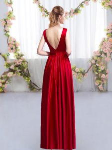 High End Red Quinceanera Court Dresses Prom and Party and Wedding Party with Beading and Appliques Scoop Sleeveless Backless