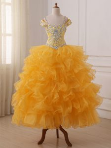 Customized Floor Length Ball Gowns Sleeveless Gold Child Pageant Dress Lace Up