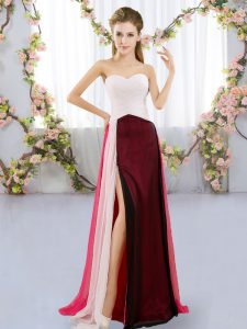 Sweetheart Sleeveless Dama Dress Floor Length Ruching Multi-color Chiffon