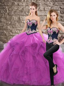 Purple Quinceanera Gown Military Ball and Sweet 16 and Quinceanera with Embroidery and Ruffles Sweetheart Sleeveless Sweep Train Lace Up