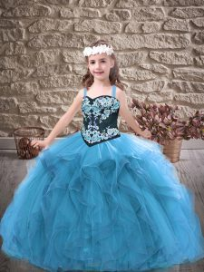 Most Popular Straps Sleeveless Tulle Little Girls Pageant Dress Embroidery and Ruffles Lace Up