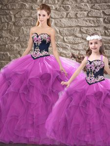 Purple Lace Up Sweetheart Beading and Embroidery 15 Quinceanera Dress Tulle Sleeveless