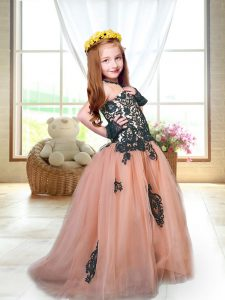 Spaghetti Straps Sleeveless Brush Train Lace Up Child Pageant Dress Peach Tulle
