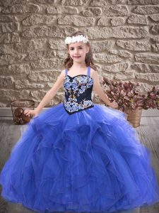 Floor Length Lace Up Pageant Gowns For Girls Royal Blue for Party and Wedding Party with Embroidery and Ruffles
