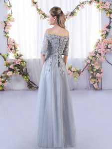 Grey Empire Tulle Off The Shoulder Half Sleeves Appliques Floor Length Lace Up Dama Dress for Quinceanera