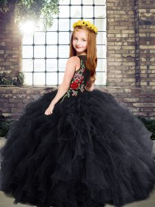 Scoop Sleeveless Zipper Pageant Gowns For Girls Black Tulle