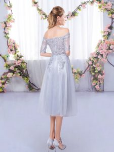 High Quality Grey Half Sleeves Tulle Zipper Damas Dress for Prom and Party and Wedding Party