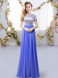 Fantastic Floor Length Zipper Dama Dress for Quinceanera Lavender for Prom and Party and Wedding Party with Sequins