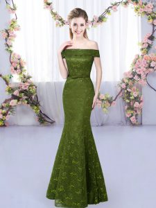 Olive Green Quinceanera Court of Honor Dress Prom and Party with Lace Off The Shoulder Sleeveless Lace Up