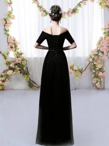Ruching Quinceanera Court of Honor Dress Black Lace Up Short Sleeves Floor Length