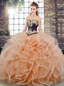 Deluxe Sleeveless Tulle Sweep Train Lace Up 15th Birthday Dress in Peach with Embroidery and Ruffles