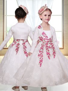 Fabulous White Straps Neckline Embroidery Toddler Flower Girl Dress Sleeveless Zipper