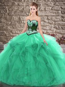 Turquoise Sweet 16 Dress Sweet 16 and Quinceanera with Beading and Embroidery Sweetheart Sleeveless Lace Up