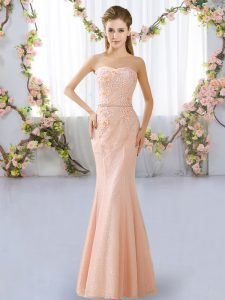 Peach Lace Up Sweetheart Beading Dama Dress for Quinceanera Lace Sleeveless