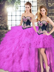 Fuchsia Lace Up Sweetheart Beading and Embroidery Quince Ball Gowns Tulle Sleeveless