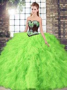 Sleeveless Tulle Floor Length Lace Up Quince Ball Gowns in with Beading and Embroidery