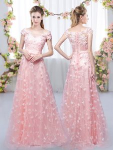 Pink Cap Sleeves Floor Length Appliques Lace Up Quinceanera Court of Honor Dress