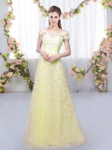 Cap Sleeves Lace Up Floor Length Appliques Quinceanera Court of Honor Dress