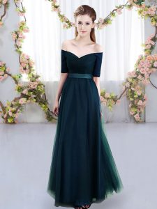 Top Selling Short Sleeves Floor Length Ruching Lace Up Vestidos de Damas with Navy Blue