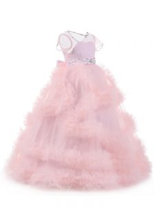 Short Sleeves Beading and Ruffles Backless Little Girls Pageant Dress