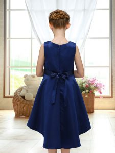 High Quality Satin Sleeveless High Low Flower Girl Dress and Lace and Bowknot