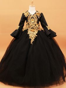 Super Black V-neck Neckline Beading and Appliques Child Pageant Dress Long Sleeves