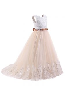 Pink Sleeveless Brush Train Lace Flower Girl Dress
