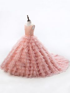Adorable Pink Sleeveless Court Train Beading and Ruffled Layers Little Girls Pageant Dress Wholesale