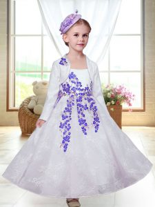 Elegant Straps Sleeveless Flower Girl Dress Ankle Length Embroidery White Lace