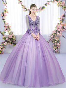 Fine Tulle Long Sleeves Floor Length 15th Birthday Dress and Lace and Appliques