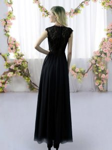 Delicate Black Quinceanera Court of Honor Dress Prom and Party and Wedding Party with Lace V-neck Cap Sleeves Zipper