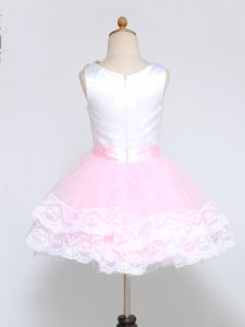 Pretty Pink And White Zipper Flower Girl Dresses Lace and Appliques Sleeveless Mini Length