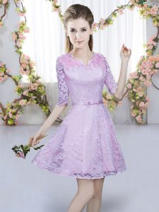 Fitting Half Sleeves Lace Mini Length Zipper Court Dresses for Sweet 16 in Lavender with Belt