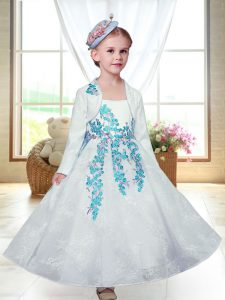 Embroidery Flower Girl Dresses White Zipper Sleeveless Ankle Length