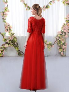 Floor Length Red Quinceanera Court Dresses Tulle Half Sleeves Lace