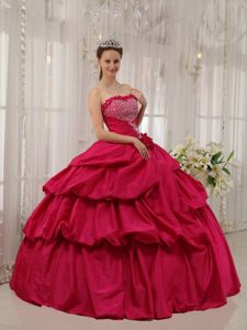 Lace Up Strapless Beading Handle Flowers Pick Ups Dress For Quinceanera