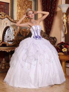 White Beading Strapless Hand Made Flowers Ruffled Organza Quinces Dress