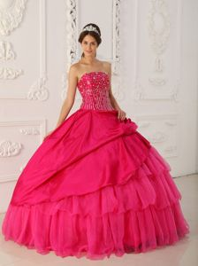 Beaded Strapless Handle Flower Ruffled Layers Hot Pink Quinceanera Dress