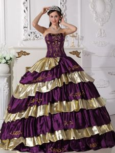 Strapless Floor-length Gold and Purple Quinceanera Dress with Embroidery