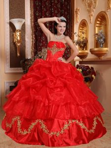 Red Strapless Beading and Appliques Pick Ups Organza Hot Sweet 15 Dress