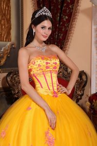 Lace Strapless Applique Floor-length Organza Yellow Dress For Quinceanera