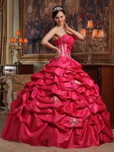 Pick-ups Strapless Appliques Handle Flowers Coral Red Quinceanera Gowns