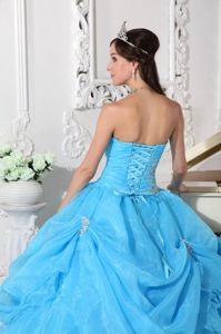 Organza Strapless Beading Applique Ruches Ruffled Aqua Blue Quince Dress