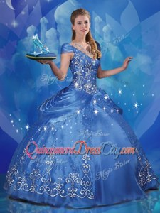Popular Blue Ball Gowns Off The Shoulder Cap Sleeves Organza Floor Length Lace Up Beading and Embroidery Sweet 16 Dresses