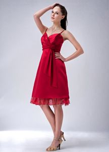 Recommended Red Spaghetti Straps Dama Quinceanera Dresses with Sash