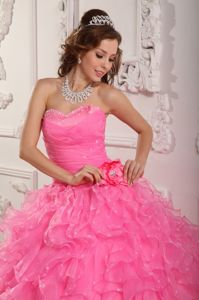 Ruched Sweetheart Beading Ruffled Handle Flower Dress for Quince